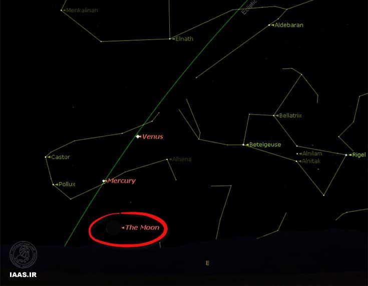 شکل 3 : نمایی از وضعیت افق شرق در صبحگاه 4 امرداد 1393