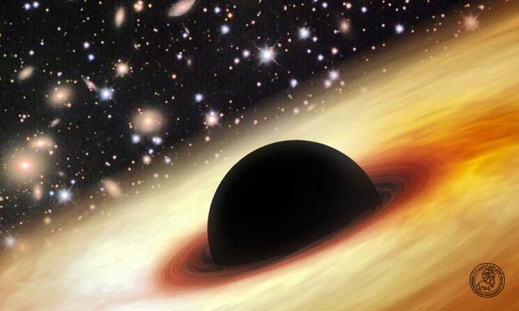 تصویر خلق شده توسط این هنرمند یک سیاهچاله ابر چگال را در جهان اولیه نشان می دهد که (به علت کوچک تر بودنش در آن زمان) اطرافش شلوغ تر بوده است (از این رو  با وجود سیاهچاله بودن جرم هنوز کهکشان ها در اطرافش مشاهده می شوند و نور را به سمت خودش خم نمی کند.)  Credit: Zhaoyu Li (Shanghai Astronomical Observatory)