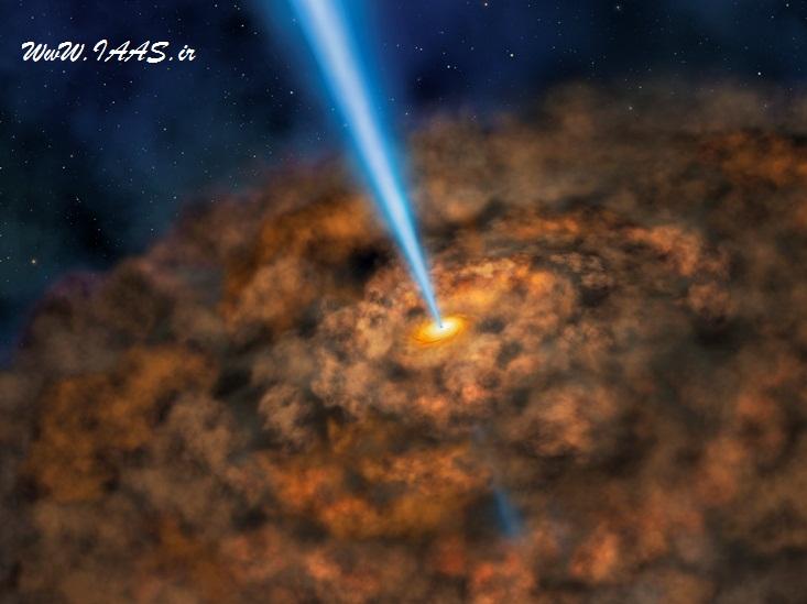 تصویری هنری از حلقه باریک غبار که می تواند فعالیتهای پرانرژی اطراف یک سیاهچاله ابرچگال را پنهان سازد
