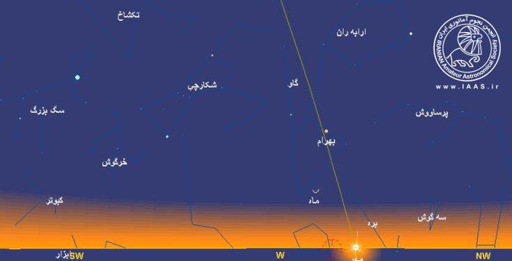 وضعیت قرار گیری هلال زیبای شعبان 1438 در افق منطقه رصدی ابیانه در شامگاه هفتم اردیبهشت96