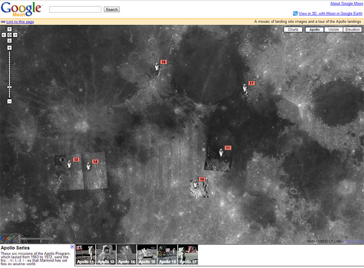 حالت آپولو نقشه ماه گوگل