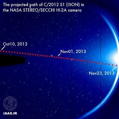 راه آیسان در حالیکه این دنبالهدار وارد دید استریو STEREOمیشود. اعتبار: ناسا  گروه رصد آیسان