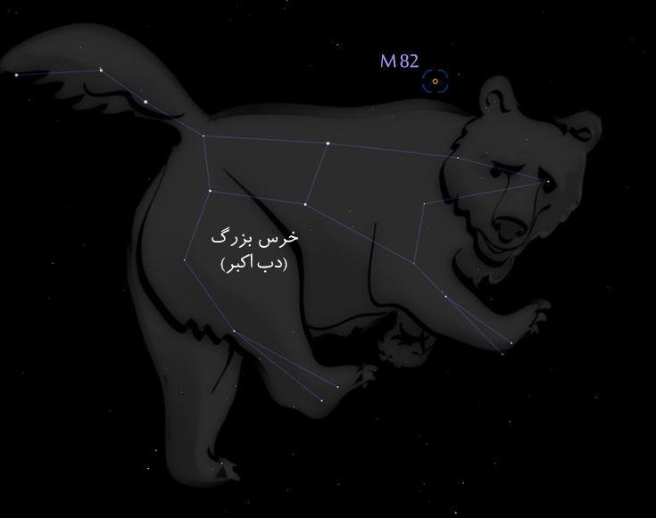 محل قرار گیری M82 در صورت فلکی خرس بزرگ (برگرفته از نرمافزار استلاریوم فارسی)