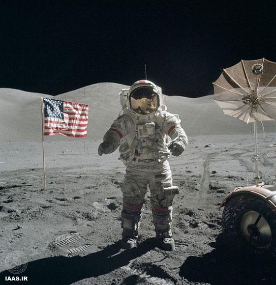 یوجین سرنان بر روی ماه، ۱۳ دسامبر ۱۹۷۲. اعتبار عکس: ناسا