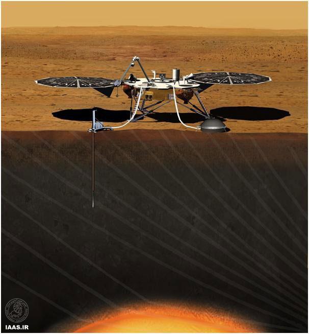 طرحی از کاوشگر سه پای InSight در حال بررسی هسته مریخ