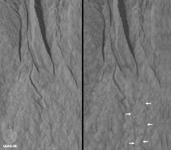 این جفت از تصاویر یکی از صدها منظره ای را بر روی مریخ نشان می دهد که در آن محققان بارها و بارها ازHiRISE  ناسا برای مطالعه تغییرات در شیارهای بر دامنه ها استفاده کرده اند.