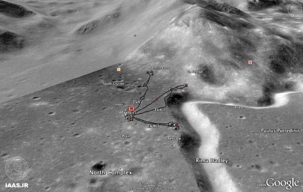 نقشه سه بعدی سطح ماه: مسیر حرکت ماهنوردها