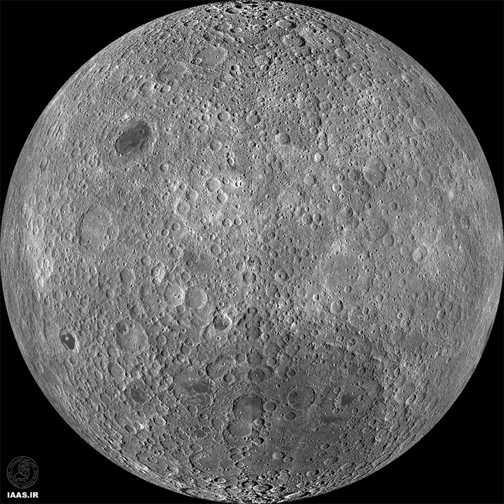 تصوير با كيفيت نقشه برداري شده از سمت دور ماه كه توسط  مدار گرد اكتشافي ماه (LRO)  ناسا تصويربرداري شده است.