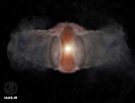 در سل 1996، باد عظیم پیش ستاره ای، به شکل یک پوسته کروی دیده می شد. Bill Saxton / NRAO / AUI / NSF
