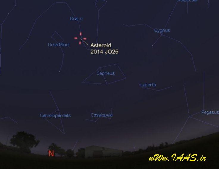 موقعیت این سیارک در ساعت 14:10 چهارشنبه 30 فروردین به وقت کشورمان