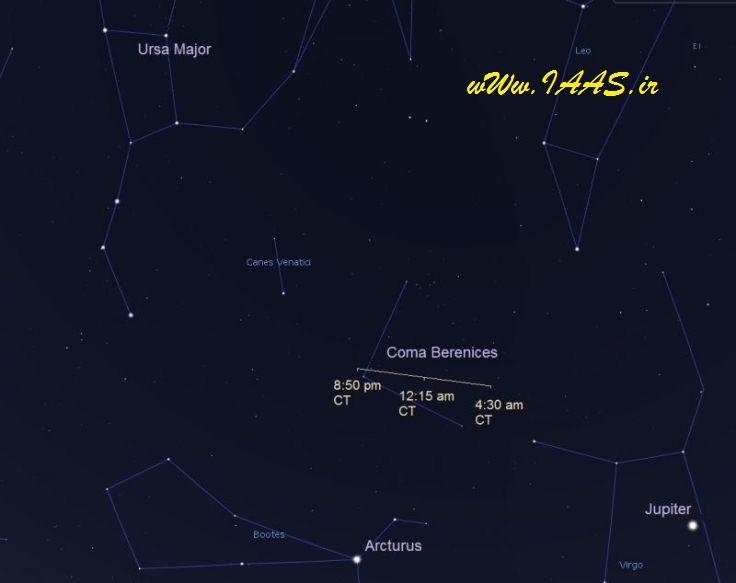 موقعیت این سیارک از ساعت 15 روز چهارشنبه 30 فروردین96 تا 07:20 صبح پنجشنبه به وقت کشورمان
