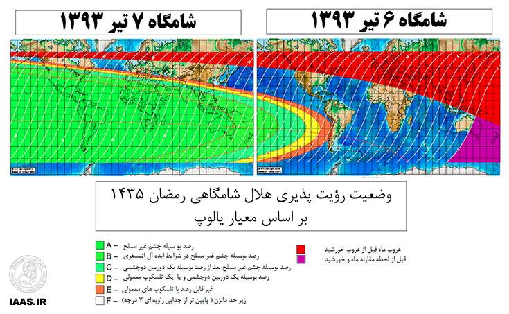 شکل 2: نقشه رؤیت پذیری هلال ماه رمضان 1435 بر اساس معیار یالوپ( برگرفته از: www.staff.science.uu.nl)
