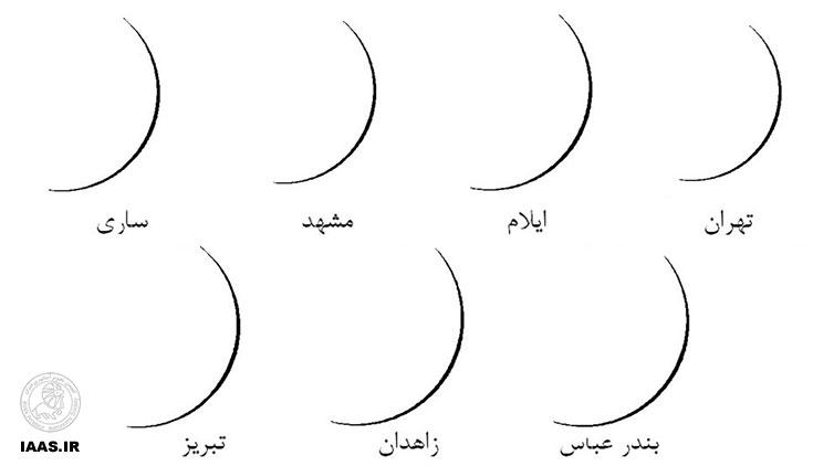 شکل 3 : نمایی از وضعیت کمان هلال ماه در شامگاه 7 تیر 1393