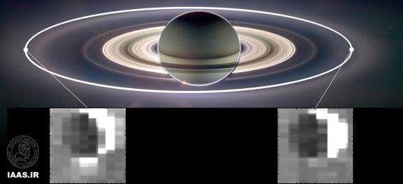 اين مجموعه عكسها در ماموريت فضاپيماي كاسيني ناسا نشان مي دهد كه چگونه نيروي گرانش سياره كيوان ، ميزان فورانهاي افشان شده در قمر فعال آنسلادوس را تحت تاثير قرار مي دهد. آنسلادوس وقتي در مدارش در فاصله اي دورتر از كيوان قرار دارد (تصوير سمت چپ) بيشترين افشانه را داشته و كمترين ميزان افشانه را زماني كه در كمترين فاصله در مدارش به دور كيوان است ( تصوير سمت راست) دارا مي باشد .