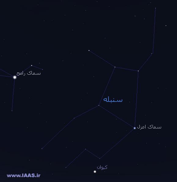 موقعیت سیاره کیوان در صورت فلکی سنبله در نزدیکی ستاره سماک اعزل(تهیه شده با نرم افزار استلاریوم فارسی)