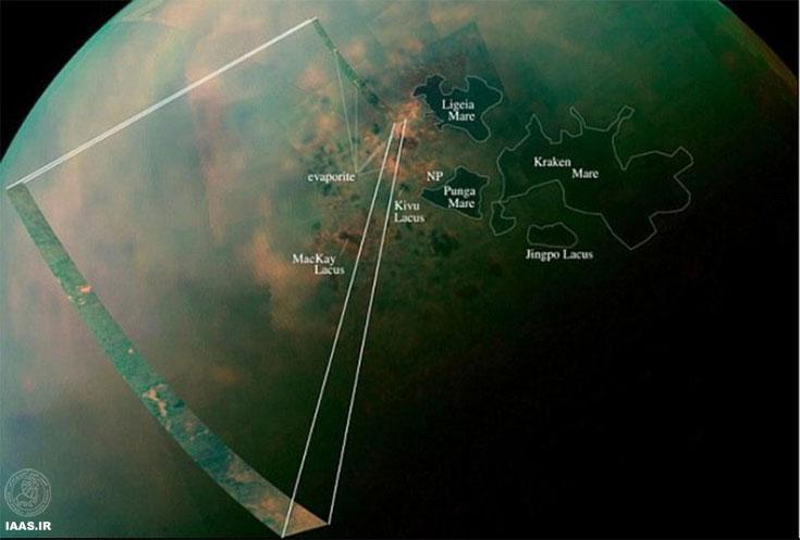 تصویری از دریاچههای نزدیک قطب شمال تیتان (بزرگترین قمر زحل)