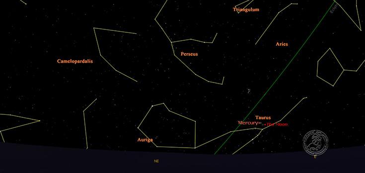 شکل 1: وضعیت آسمان در افق شرقی صبحگاه دوشنبه 25 خرداد 1394