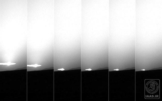 غروب خورشید در افق مریخ در نمایی از دهانه گیل